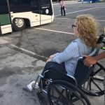 Divorce attorney Meghan Freed in a wheelchair