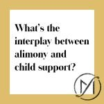 """White square with a gold border and the black words """"What's the interplay between alimony and child support?"""" with the Freed Marcroft family law firm logo in the lower right corner."""