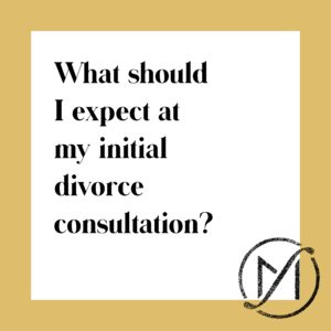 "Gold border around a white square with the black writing ""What should I expect at my initial divorce consultation?"""