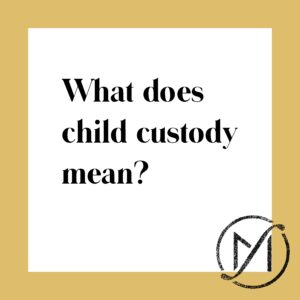 """Gold border around a white square that says """"What does child custody mean?"""" in black letters."""