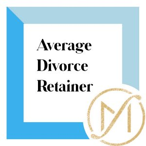 "Blue border with the words ""average divorce retainer"" in blach and the gold freed marcroft divorce and family law logo on the lower right corner"