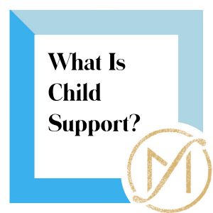 """blue border with black letters reading """"What Is Child Support?"""" and the gold freed marcroft divorce and family law logo in the lower right hand corner"""