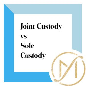 """Blue border with """"Joint Custody vs Sole Custody"""" in black lettering and the gold Freed Marcroft LLC divorce and family law attorneys logo in the lower right corner."""
