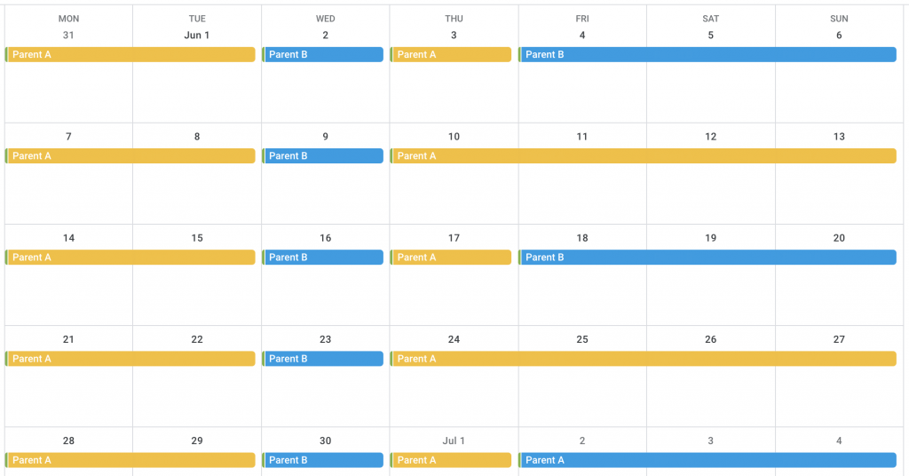 example calendar of every other weekend with a mid-week overnight
