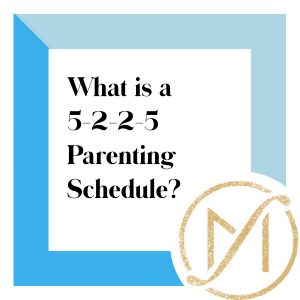 """Blue border with """"What is a 5-2-2-5 Parenting Schedule"""" in black lettering and the gold Freed Marcroft LLC divorce and family law attorneys logo in the lower right corner."""