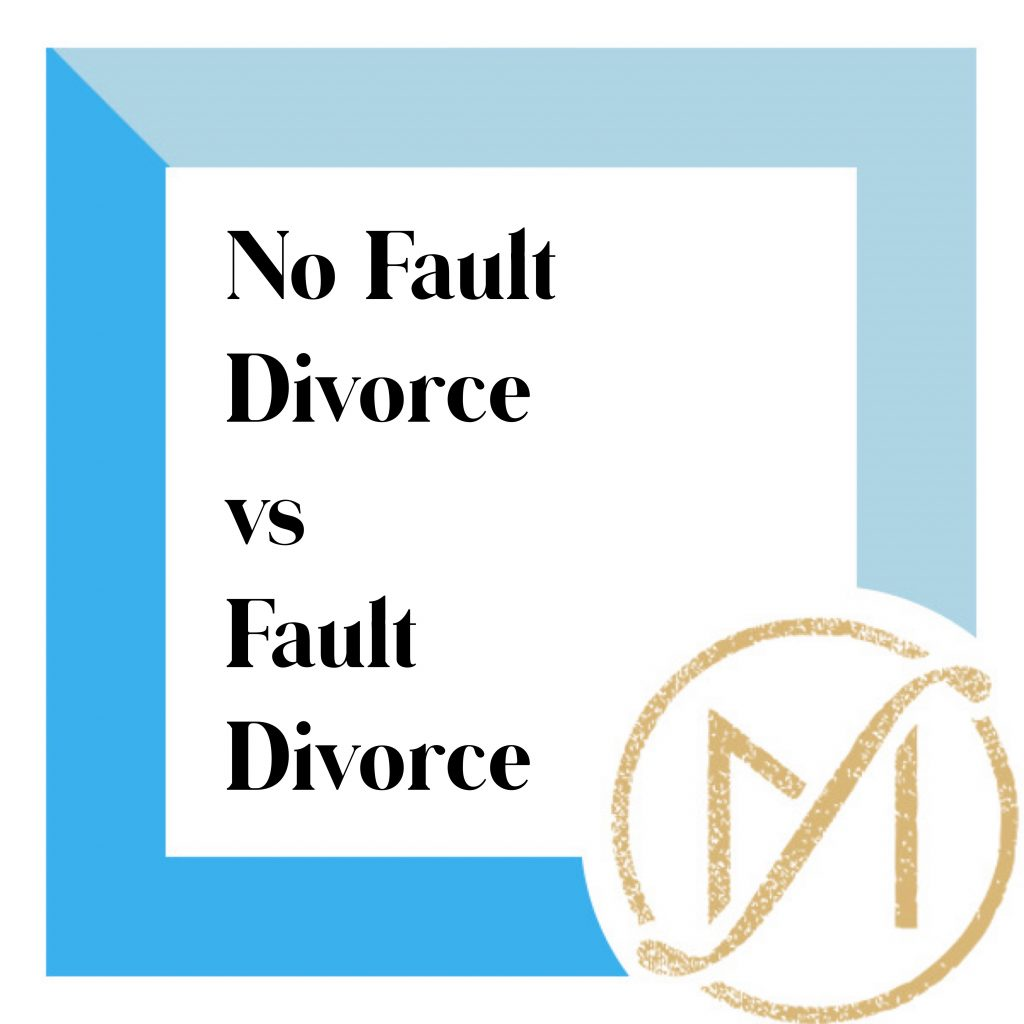 """blue border with """"no fault divorce vs fault divorce"""" in black writing and the freed marcroft divorce and family lawyers logo in the lower right hand corner."""
