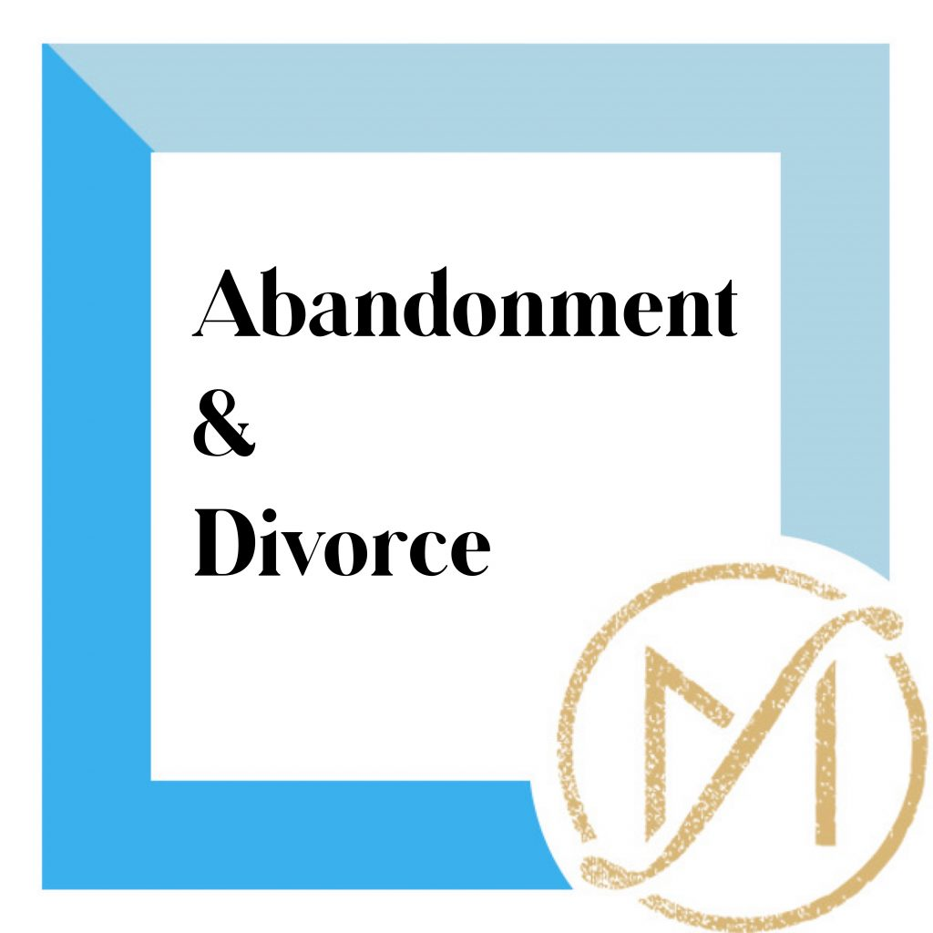 """Blue border with """"Abandonment & Divorce"""" in black lettering and the gold Freed Marcroft LLC divorce and family law attorneys logo in the lower right corner."""