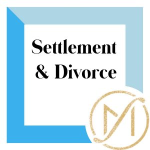 """Blue border with """"Settlement & Divorce"""" in black lettering and the gold Freed Marcroft LLC divorce and family law attorneys logo in the lower right corner."""