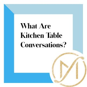 """Blue border with """"What Are Kitchen Table Conversations?"""" in black lettering and the gold Freed Marcroft LLC divorce and family law attorneys logo in the lower right corner."""