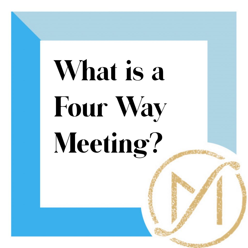 """Blue border with """"What is a Four Way Meeting?"""" in black lettering and the gold Freed Marcroft LLC divorce and family law attorneys logo in the lower right corner."""