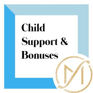 """Blue border with """"Child Support & Bonuses"""" in black lettering and the gold Freed Marcroft LLC divorce and family law attorneys logo in the lower right corner."""