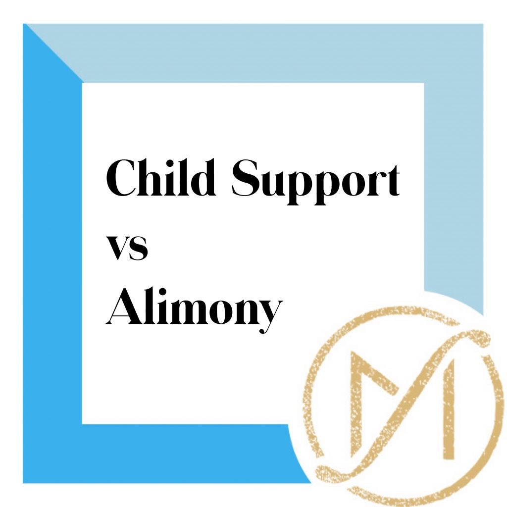 """Blue border with """"Child Support vs Alimony"""" in black lettering and the gold Freed Marcroft LLC divorce and family law attorneys logo in the lower right corner."""