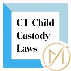 """Blue border with """"CT Child Custody Laws"""" in black lettering and the gold Freed Marcroft LLC divorce and family law attorneys logo in the lower right corner."""