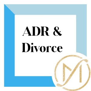 """Blue border with """"ADR & Divorce"""" in black lettering and the gold Freed Marcroft LLC divorce and family law attorneys logo in the lower right corner."""